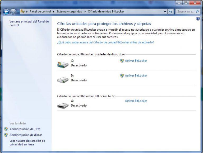 Cifrar memoria usb con BitLocker
