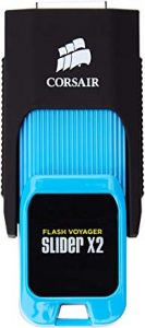 Pendrive 512GB Corsair Voyager Slider X2 Unidad Flash USB 512 GB USB Tipo A 3.0 (3.1 Gen 1) Negro, Azul - Memoria USB (512 GB, USB Tipo A, 3.0 (3.1 Gen 1), 310 MB/s, Deslizar, Negro, Azul)