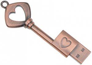 Pendrive para Regalar Kepmem Memoria USB 2.0 DE 32 GB Forma Corazón Llave USB Pen Drive