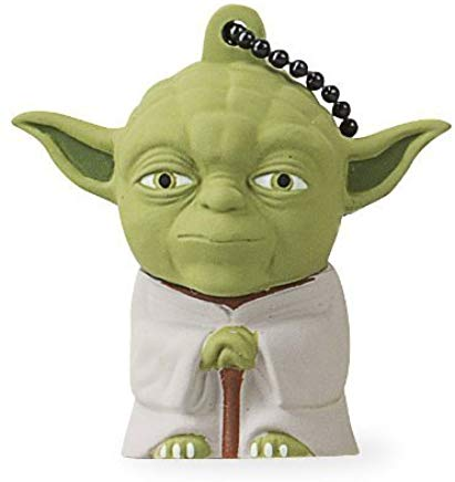 Pendrive Star Wars 16gb Tribe Disney Star Wars Yoda - Memoria USB 2.0 de 16 GB Pendrive Flash Drive de goma con llavero, color verde