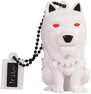 Pendrive Game of Thrones Tribe Game of Thrones (Juego de Tronos) Direwolf - Memoria USB 2.0 de 16 GB Pendrive Flash Drive de Goma con Llavero, Color Blanco