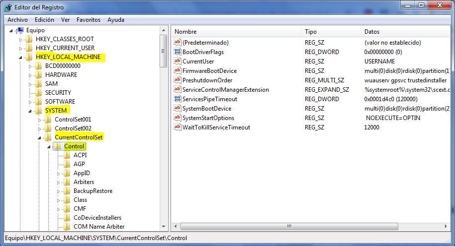 Pantalla del editor de registros de windows para cambiar permiso de escritura en la unidad