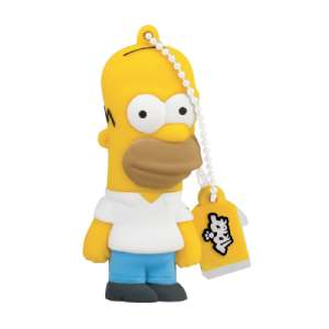 Pendrive de los Simpsons Tribe Los Simpsons Homer - Memoria USB 2.0 de 8 GB Pendrive Flash Drive de Goma con Llavero